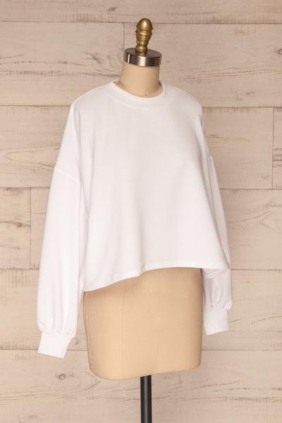 Pasklek White Long Sleeve Crop Top | La petite garçonne side view