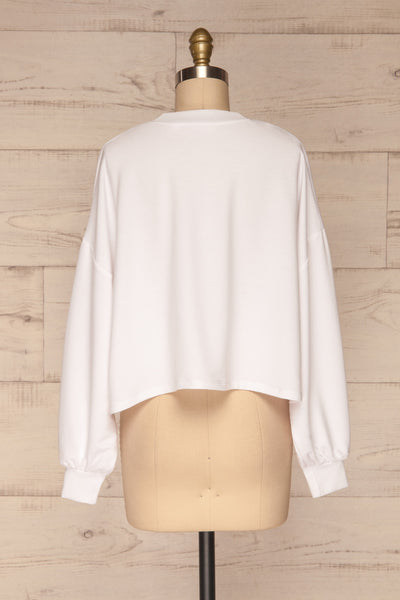 Pasklek White Long Sleeve Crop Top | La petite garçonne back view