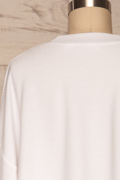 Pasklek White Long Sleeve Crop Top | La petite garçonne back close up