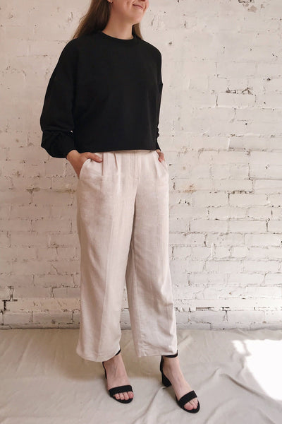 Corato Beige High Waist Wide Leg Pants | La petite garçonne on model