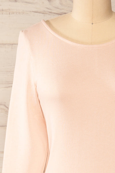 Pasly Blush Long Sleeve Cotton Dress | La petite garçonne front close-up