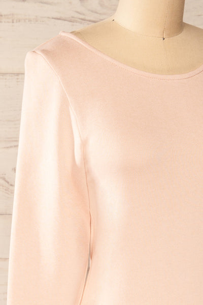 Pasly Blush Long Sleeve Cotton Dress | La petite garçonne side close-up
