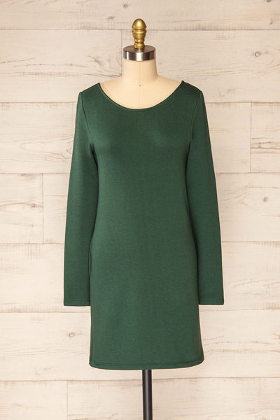 Pasly Green Long Sleeve Cotton Dress | La petite garçonne front view