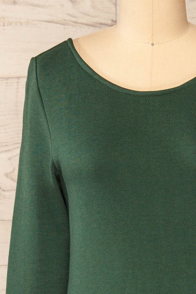 Pasly Green Long Sleeve Cotton Dress | La petite garçonne front close-up