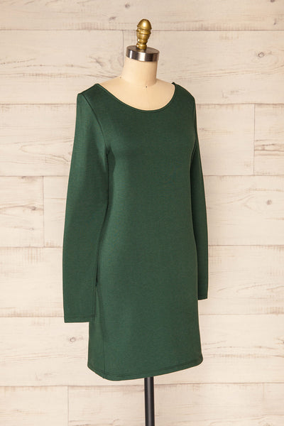 Pasly Green Long Sleeve Cotton Dress | La petite garçonne side view
