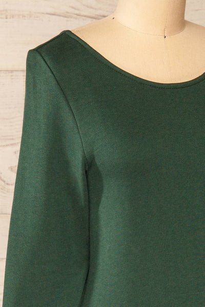 Pasly Green Long Sleeve Cotton Dress | La petite garçonne side close-up