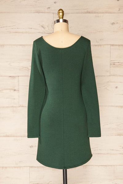 Pasly Green Long Sleeve Cotton Dress | La petite garçonne back view