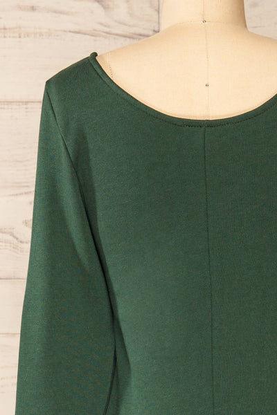 Pasly Green Long Sleeve Cotton Dress | La petite garçonne back close-up
