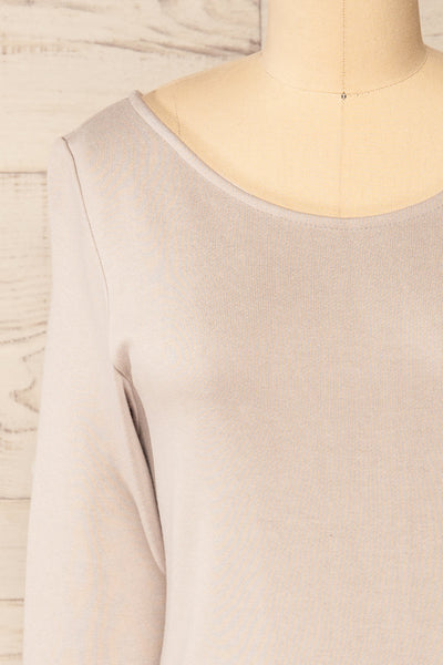 Pasly Grey Long Sleeve Cotton Dress | La petite garçonne front close-up