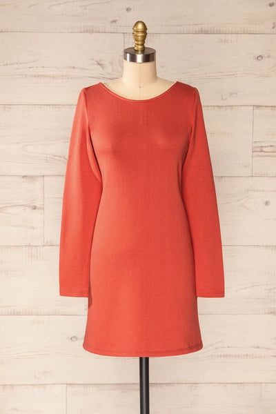 Pasly Rust Long Sleeve Cotton Dress | La petite garçonne front view