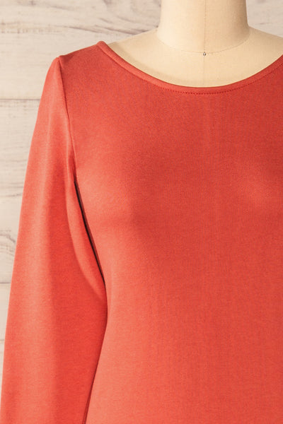 Pasly Rust Long Sleeve Cotton Dress | La petite garçonne front close-up