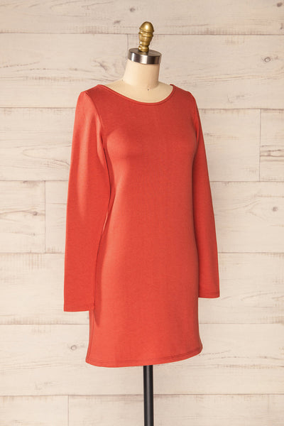 Pasly Rust Long Sleeve Cotton Dress | La petite garçonne side view