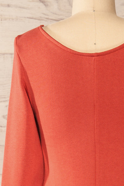 Pasly Rust Long Sleeve Cotton Dress | La petite garçonne back close-up