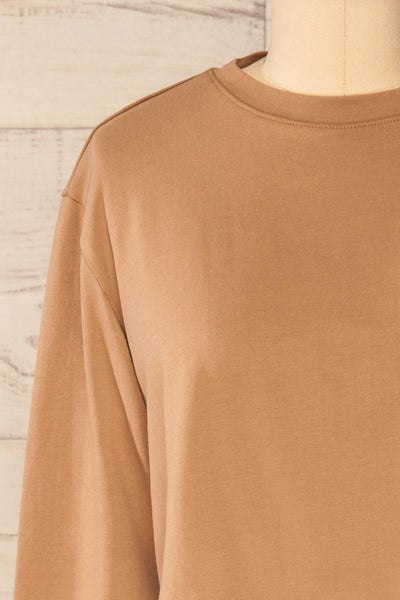 Pato Taupe Long Sleeve Crop Top | La petite garçonne front close-up