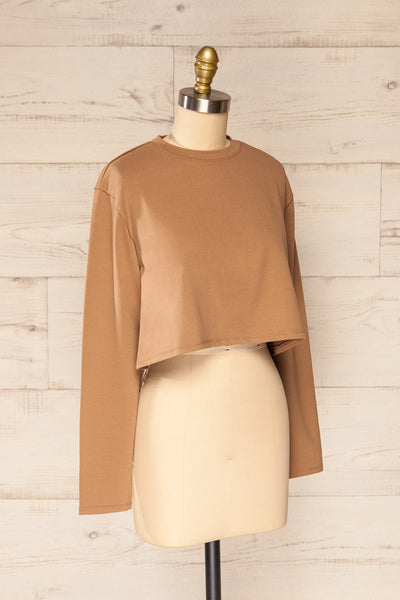 Pato Taupe Long Sleeve Crop Top | La petite garçonne side view