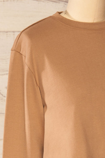 Pato Taupe Long Sleeve Crop Top | La petite garçonne side close-up