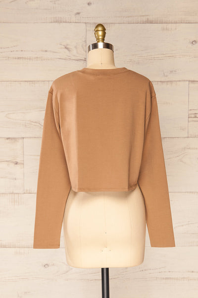 Pato Taupe Long Sleeve Crop Top | La petite garçonne back view