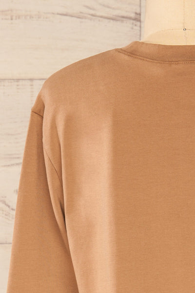 Pato Taupe Long Sleeve Crop Top | La petite garçonne back close-up