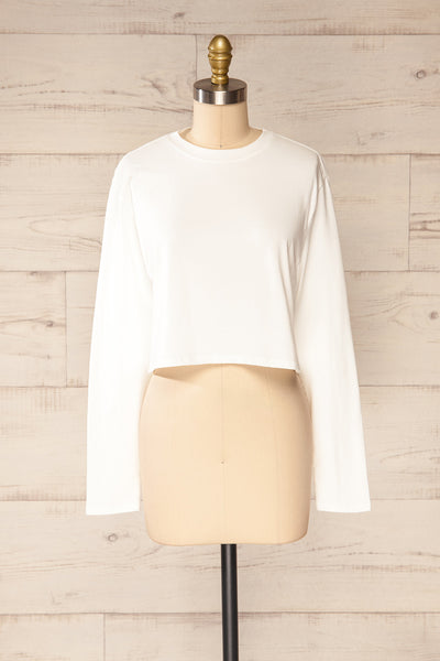 Pato White Long Sleeve Crop Top | La petite garçonne front view