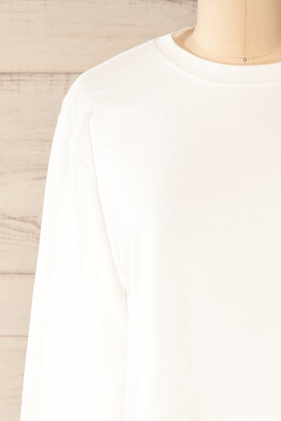 Pato White Long Sleeve Crop Top | La petite garçonne front close-up