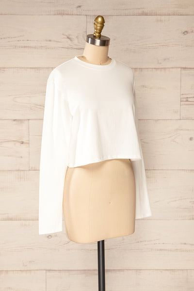 Pato White Long Sleeve Crop Top | La petite garçonne side view