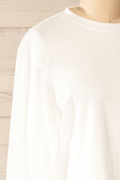 Pato White Long Sleeve Crop Top | La petite garçonne side close-up
