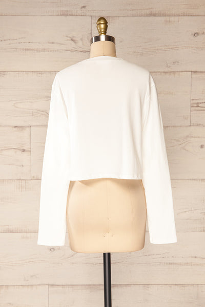 Pato White Long Sleeve Crop Top | La petite garçonne back view