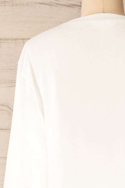 Pato White Long Sleeve Crop Top | La petite garçonne back close-up