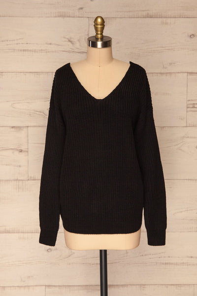 Patras Black V-Neck Knitted Sweater | La petite garçonne front view