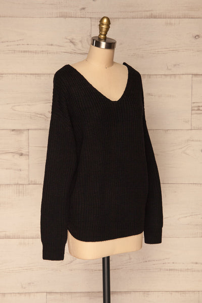 Patras Black V-Neck Knitted Sweater | La petite garçonne side view