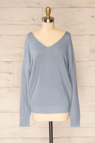 Patras Light Blue V-Neck Knitted Sweater | La petite garçonne front view