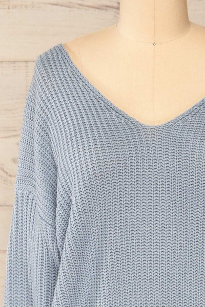 Patras Light Blue V-Neck Knitted Sweater | La petite garçonne front close-up