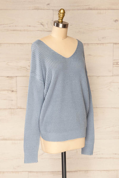 Patras Light Blue V-Neck Knitted Sweater | La petite garçonne side view
