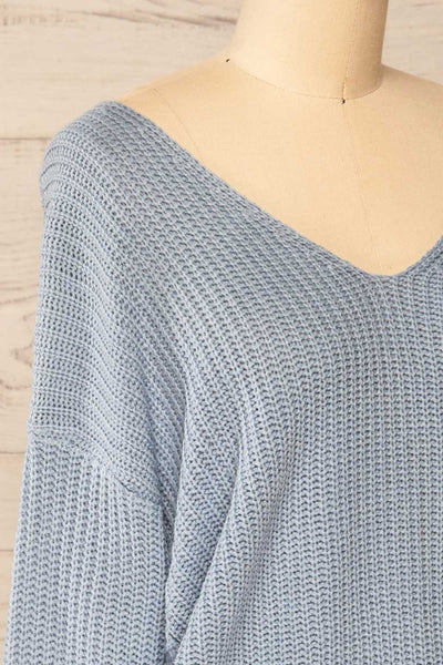 Patras Light Blue V-Neck Knitted Sweater | La petite garçonne side close-up