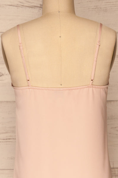 Paularo Lychee Pink Tank Top w/ Bow | La petite garçonne back close-up