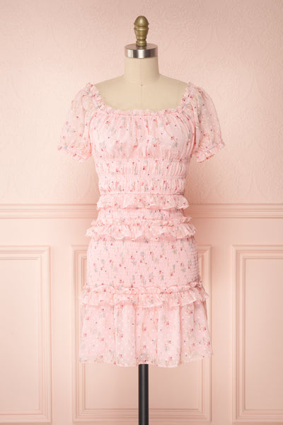 Paulina Pink Floral Short Dress w/ Frills | Boutique 1861 front view