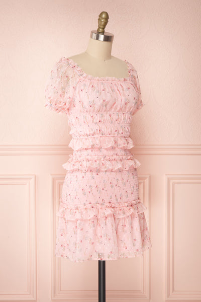 Paulina Pink Floral Short Dress w/ Frills | Boutique 1861 side view