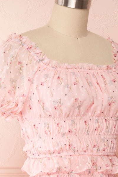 Paulina Pink Floral Short Dress w/ Frills | Boutique 1861 side close up