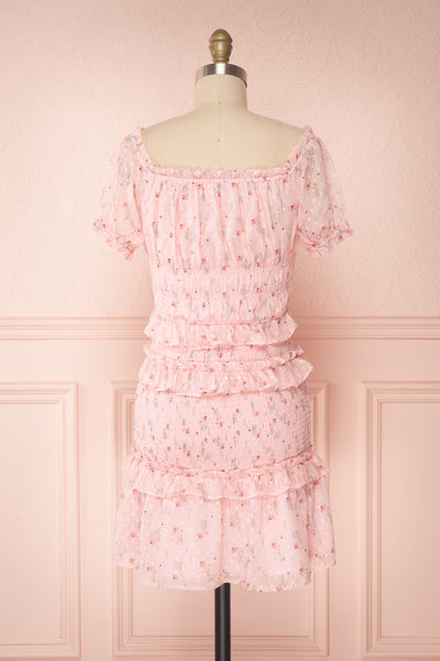 Paulina Pink Floral Short Dress w/ Frills | Boutique 1861 back view