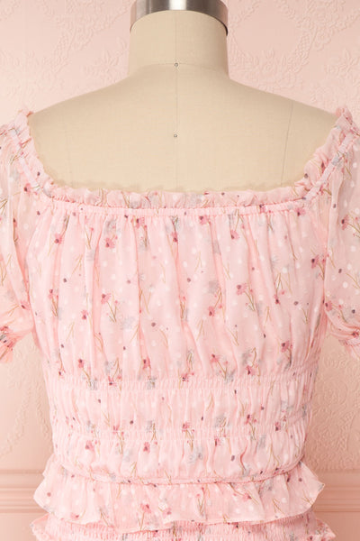 Paulina Pink Floral Short Dress w/ Frills | Boutique 1861 back close up