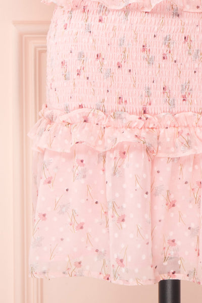 Paulina Pink Floral Short Dress w/ Frills | Boutique 1861 skirt