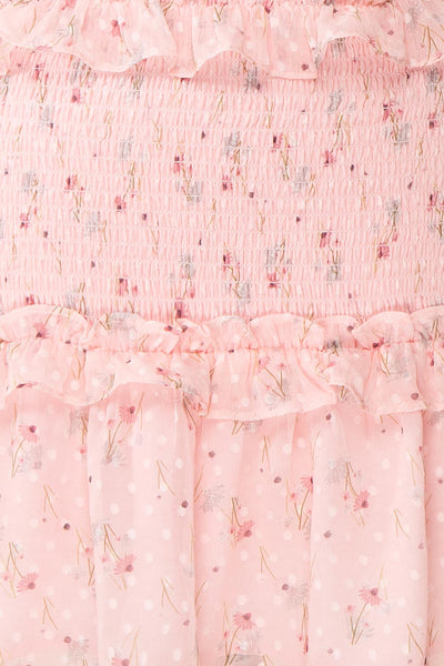 Paulina Pink Floral Short Dress w/ Frills | Boutique 1861 fabric