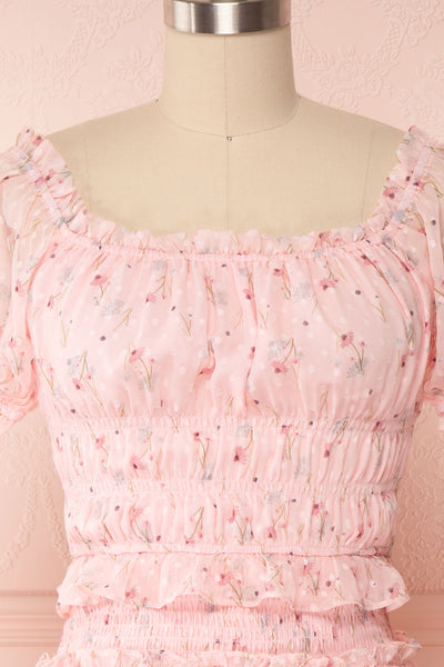 Paulina Pink Floral Short Dress w/ Frills | Boutique 1861 front close up