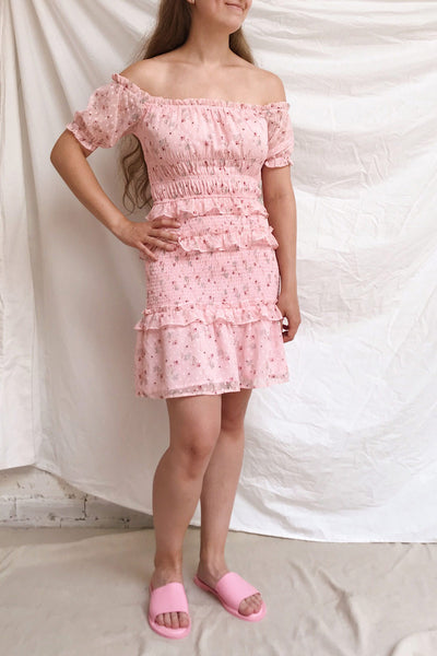 Paulina Pink Floral Short Dress w/ Frills | Boutique 1861 model look