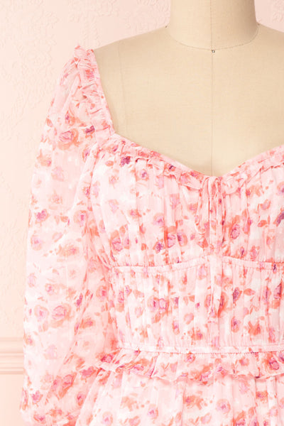 Payton Pink Patterned Short Chiffon Dress | Boutique 1861 front close-up