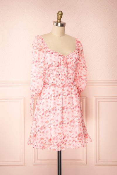 Payton Pink Patterned Short Chiffon Dress | Boutique 1861 side view