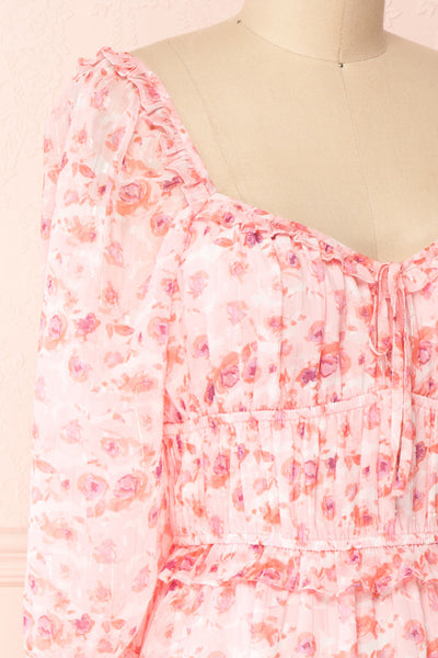 Payton Pink Patterned Short Chiffon Dress | Boutique 1861 side close-up