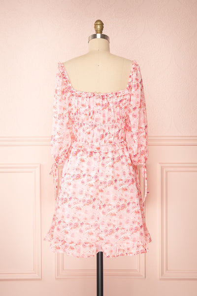 Payton Pink Patterned Short Chiffon Dress | Boutique 1861 back view