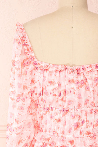 Payton Pink Patterned Short Chiffon Dress | Boutique 1861 back close-up