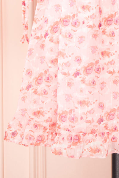 Payton Pink Patterned Short Chiffon Dress | Boutique 1861 bottom